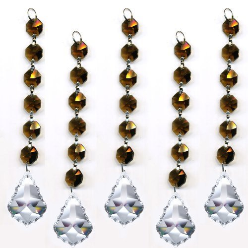 Magnificent Crystal Clear Pendant Dark Gray Garland Prism Party Decor, 5 Pc