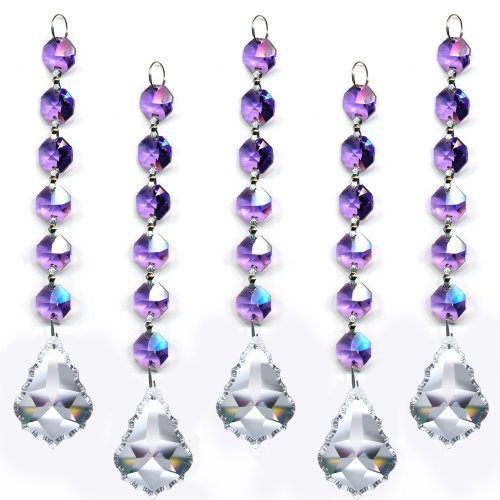 Magnificent Crystal Clear Pendant Violet Garland Prism Party Decor, 5 Pc