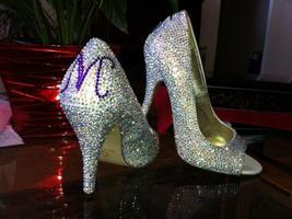 Personalized Bridal Shoes Peep Toe Heels Swarovski Rhinestone Wedding Br... - $125.00