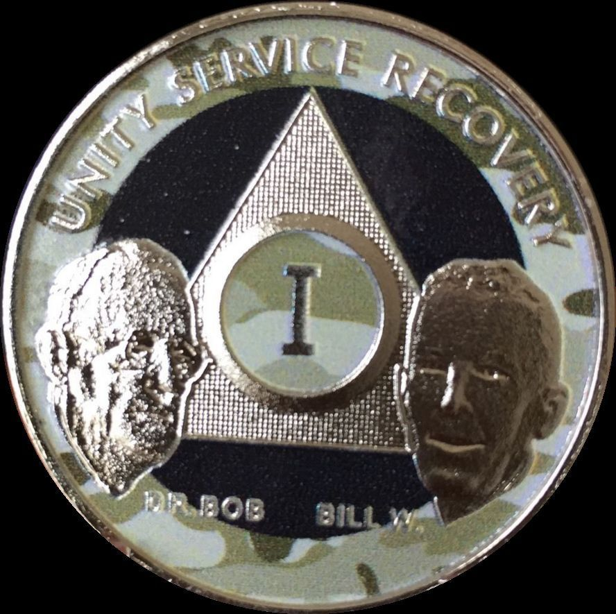 Custom Color Year 1 - 65 Nickel Plated AA Founders Medallion Bill W Dr Bob Chip