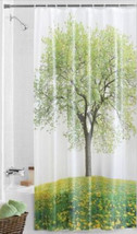 "Life Tree Design Shower Curtain, Grass & Flowers Meadow Peva 70H"" x 72W""... - $17.98"