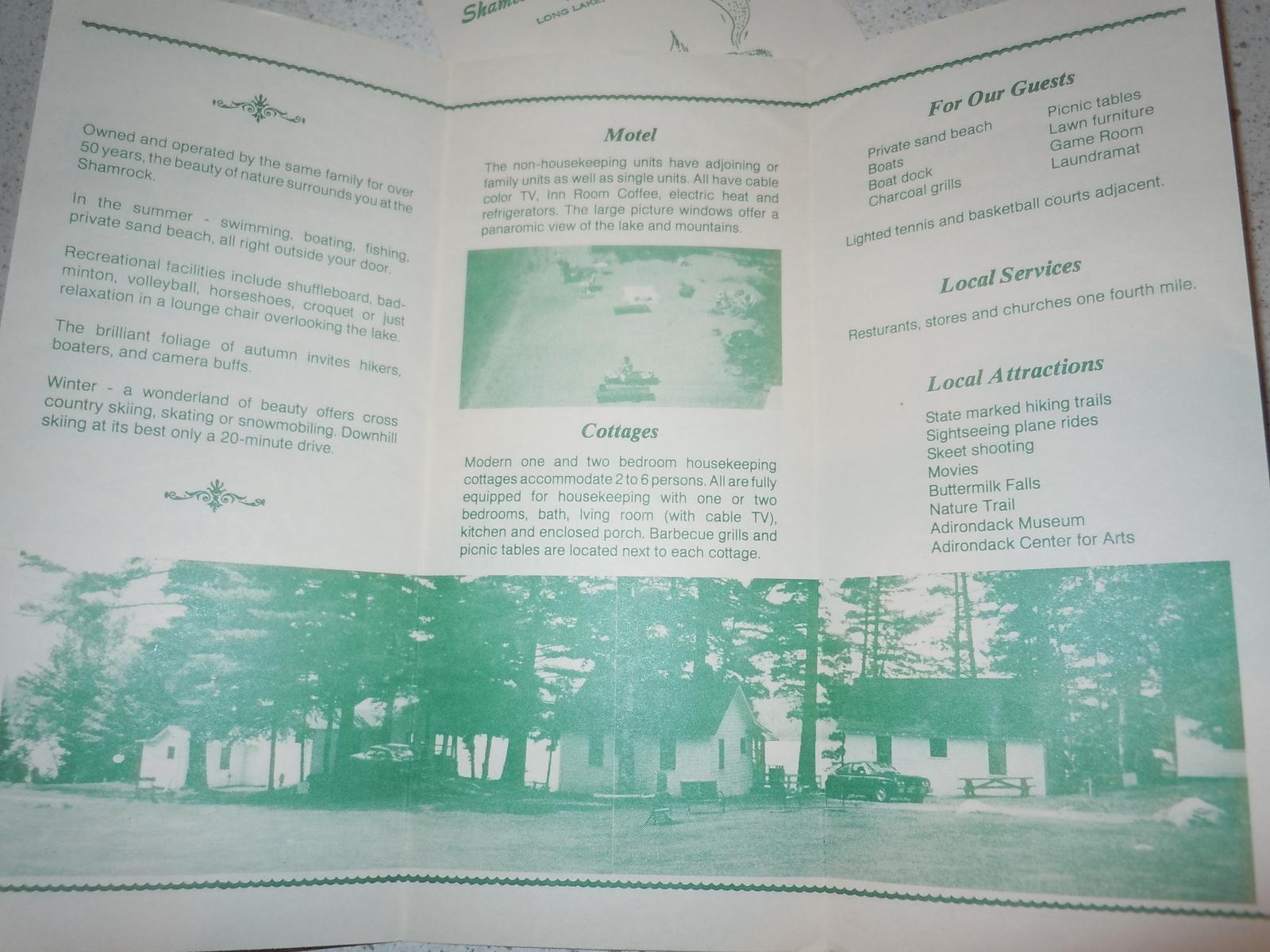 Shamrock Motel and Cottages Long Lake New York 1950's Brochure
