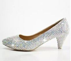 kitten heels bridal shoes low wedding shoes prom closed toe sparkle AB c... - £100.36 GBP