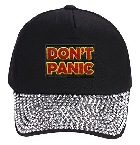 Don't Panic Hat - Rhinestone Black Adjustable Womens