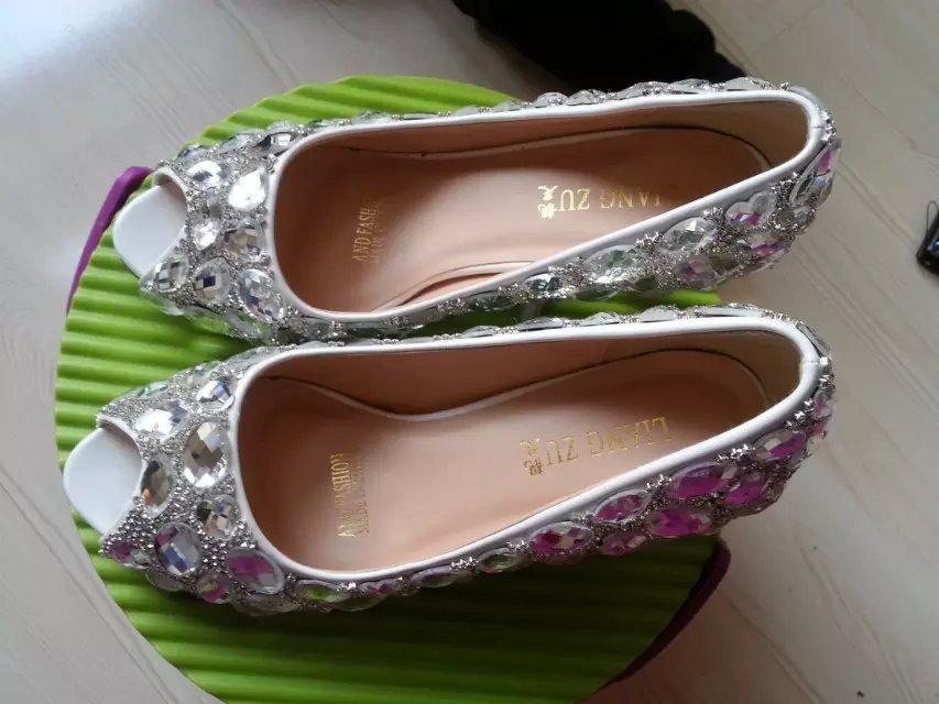kitten heels wedding shoes low bridal open toe heels shoes clean gems rhinestone
