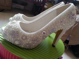 ivory wedding shoes silver flower rhinestone peep toe pumps bride classi... - $155.00