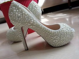 wedding shoes high platform heels ivory pearl open toe pumps bride classic shoes - $125.00