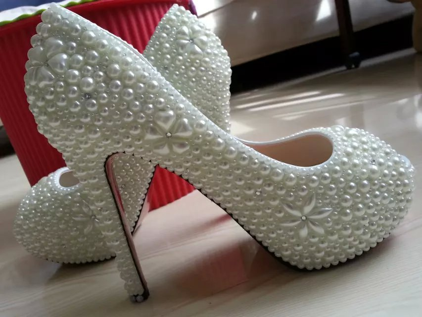 wedding shoes high platform heels ivory pearl open toe pumps bride classic shoes image 2