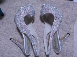 "swarovski crystal wedding shoes 4"" open toe sling back bridal shoes sand... - $165.00"
