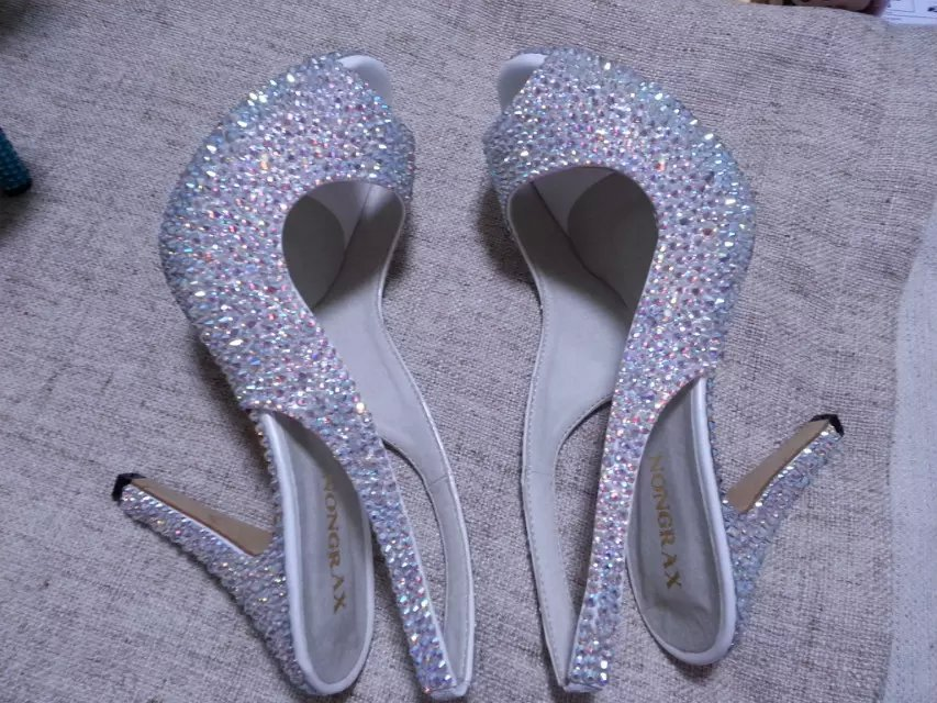 "swarovski crystal wedding shoes 4"" open toe sling back bridal shoes sandal bling"