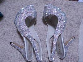 """swarovski crystal wedding shoes 4"""" open toe sling back bridal shoes sandal bling image 2"""