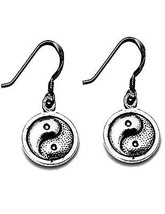 LOOK Yin Yang Chinese charm dangle hook Earrings Authentic Sterling Silv... - $15.97