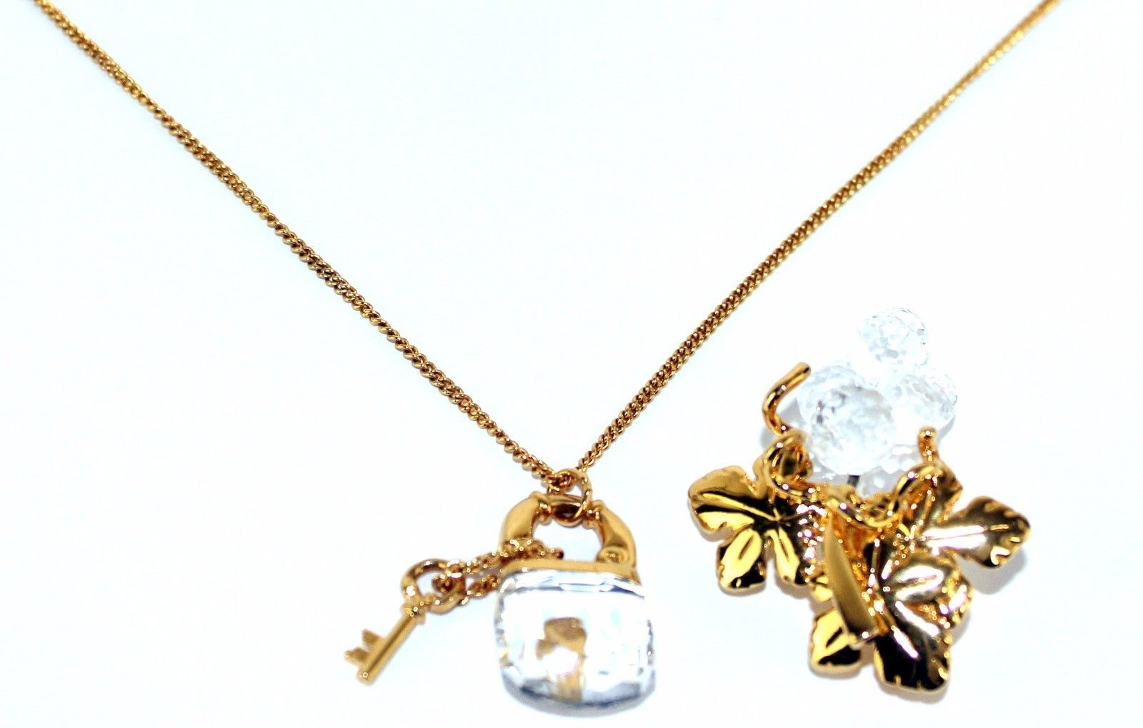 Auth Swarovski Gold Tone & Crystal Lock Pendant Chain Necklace W/ Brooch Unused image 9