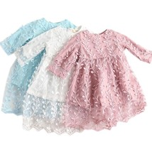Girls Princess Party Dresses Summer Lace Leaves Tulle Overlay Formal Clo... - $23.99
