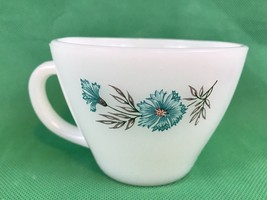 Fire King Oven Ware Bonnie Blue Flower Carnation Vintage Milk Glass Coffee Cup - $11.30