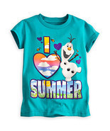"Disney Store Frozen Olaf ""I Love Summer"" Short Sleeve Tee T-Shirt for Girls - £9.48 GBP"