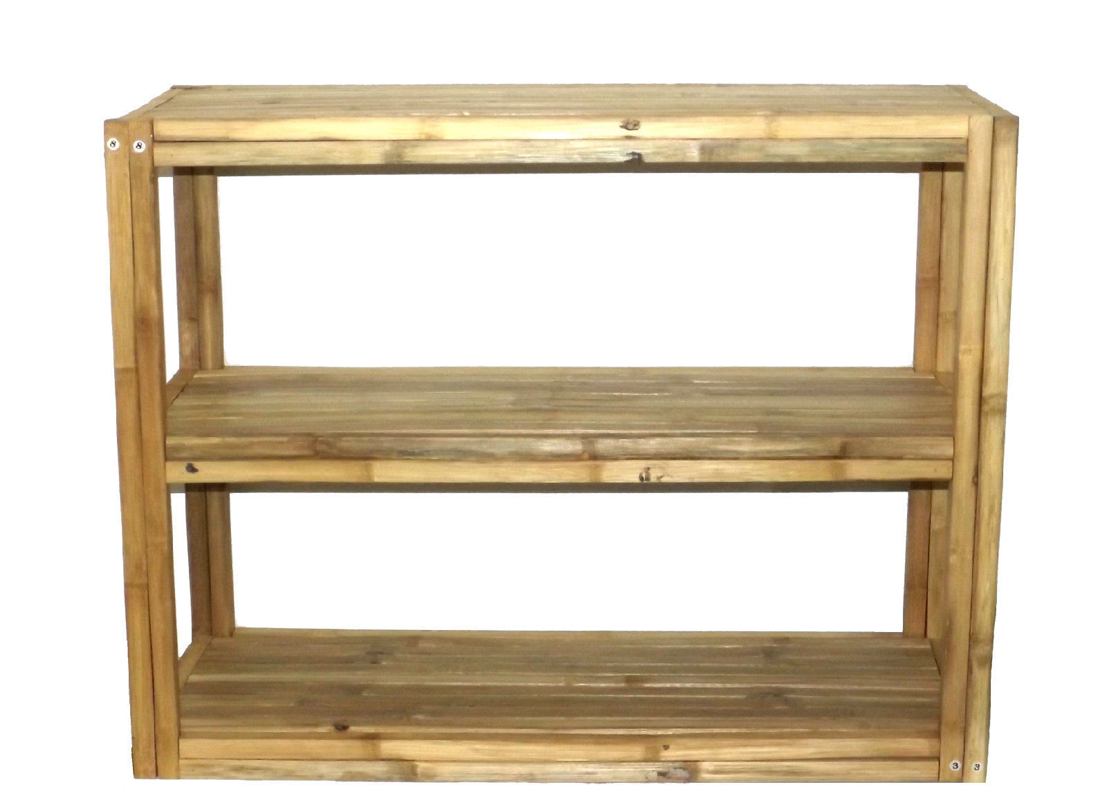 bamboo tiki 3 tier square bamboo 35 5 inch patio rectangular shelf tv stand entertainment. Black Bedroom Furniture Sets. Home Design Ideas