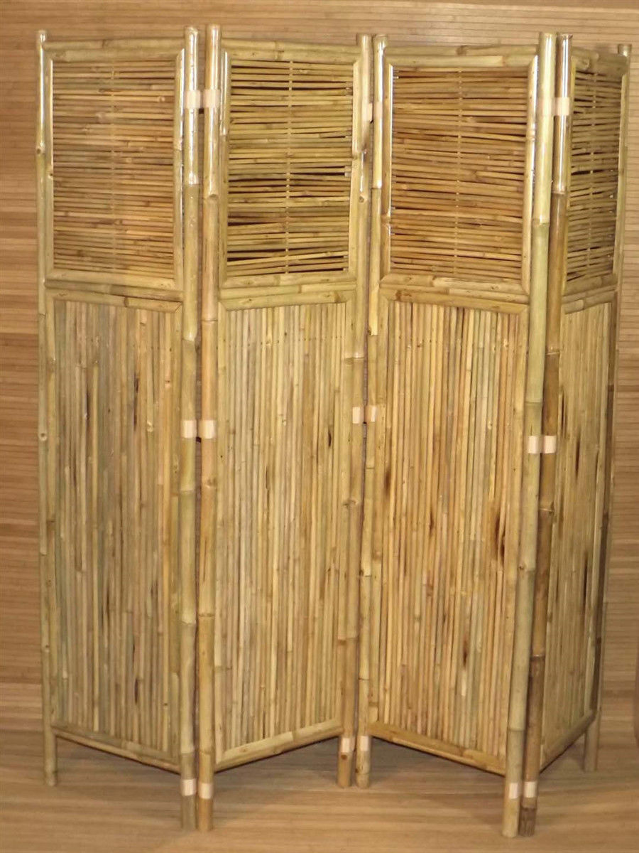 Bamboo Tiki 4 Panel Horizontal and Vertical 72 inch Screen Room Divider
