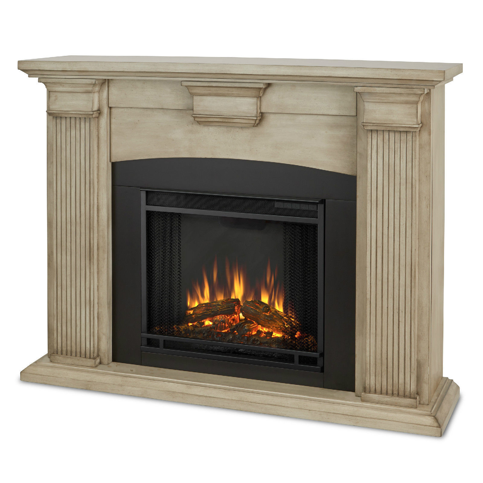 Real Flame Adelaide Electric Fireplace Heater Blackwash or Dry Brush White