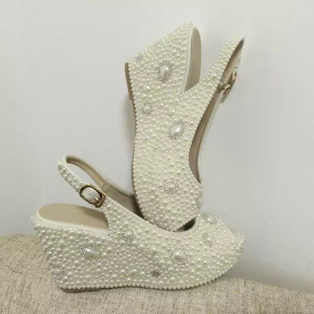 "wedge slingback bridal shoes 3 1/2"" sandals wedding heels ivory pearl bling shoe"