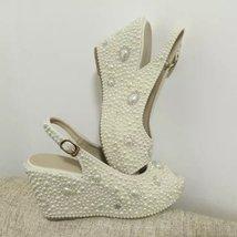 "wedge slingback bridal shoes 3 1/2"" sandals wedding heels ivory pearl bl... - $135.00"