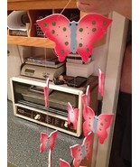 Hot Pink & Pink Porcelain Butterfly Butterflies Hanging Wind Chimes Chan... - $27.99