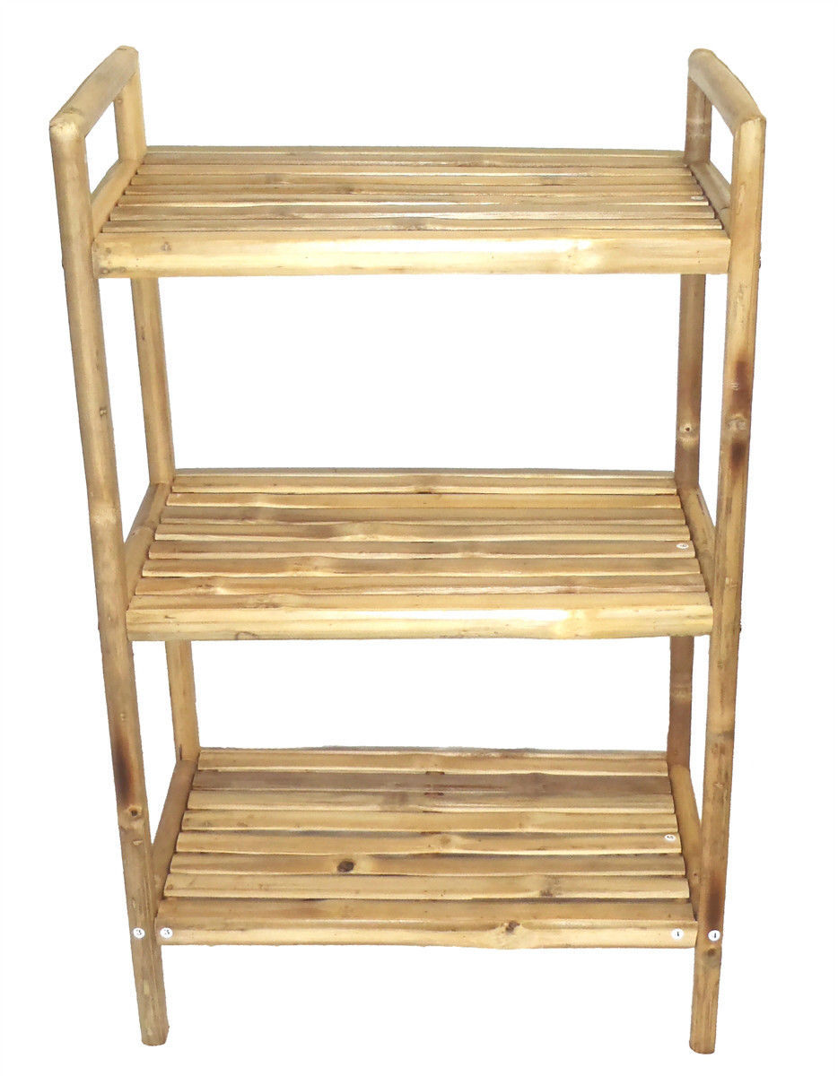 Bamboo Tiki 3 Tier Bath Utility Rack Shelf Free Shipping