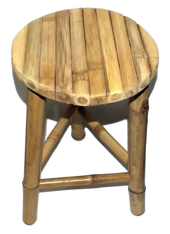 Bamboo Tiki Patio Deck Tripod Stools, Set of 2, Factory Warehouse Direct