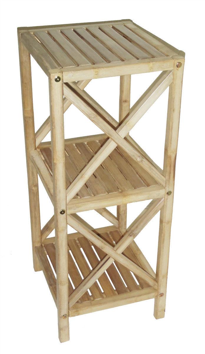 Bamboo Tiki 3 Tier Patio Deck or Bath Shelf Storage Shelf Rack