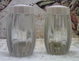 Vintage Mid Century Clear Pressed Glass Salt & Pepper Shakers Cream Plas... - $12.50