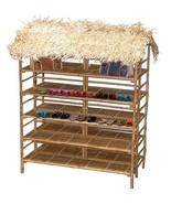 Bamboo Tiki Thatch Palapa Double Size Patio Deck Shelf and Display Rack - $629.00