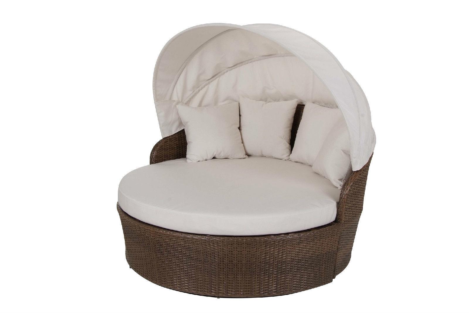 Panama Jack Key Biscayne Synthetic Wicker Tiki Canopy Day Bed w/ Cushion