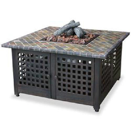 "Uniflame 41"" Slate Mosaic Outdoor 40,000 btu lp Propane Patio Deck Fire Pit"