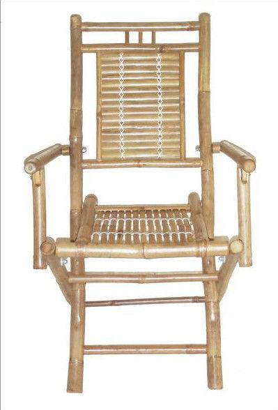 Bamboo Tiki Folding Patio Deck Arm Chairs, Set of 2