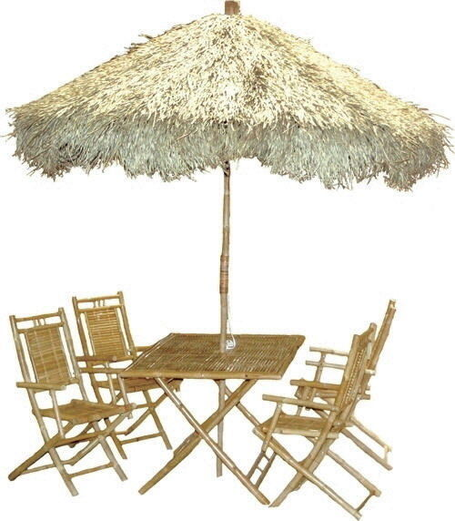 Bamboo Tiki 6 pc Palapa Family Patio Deck Table Set with 9 Ft Thatched Umbrella