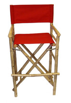 Bamboo Tiki Bar Stool Patio Deck Folding Director Chair Set of 2 Red - $174.95