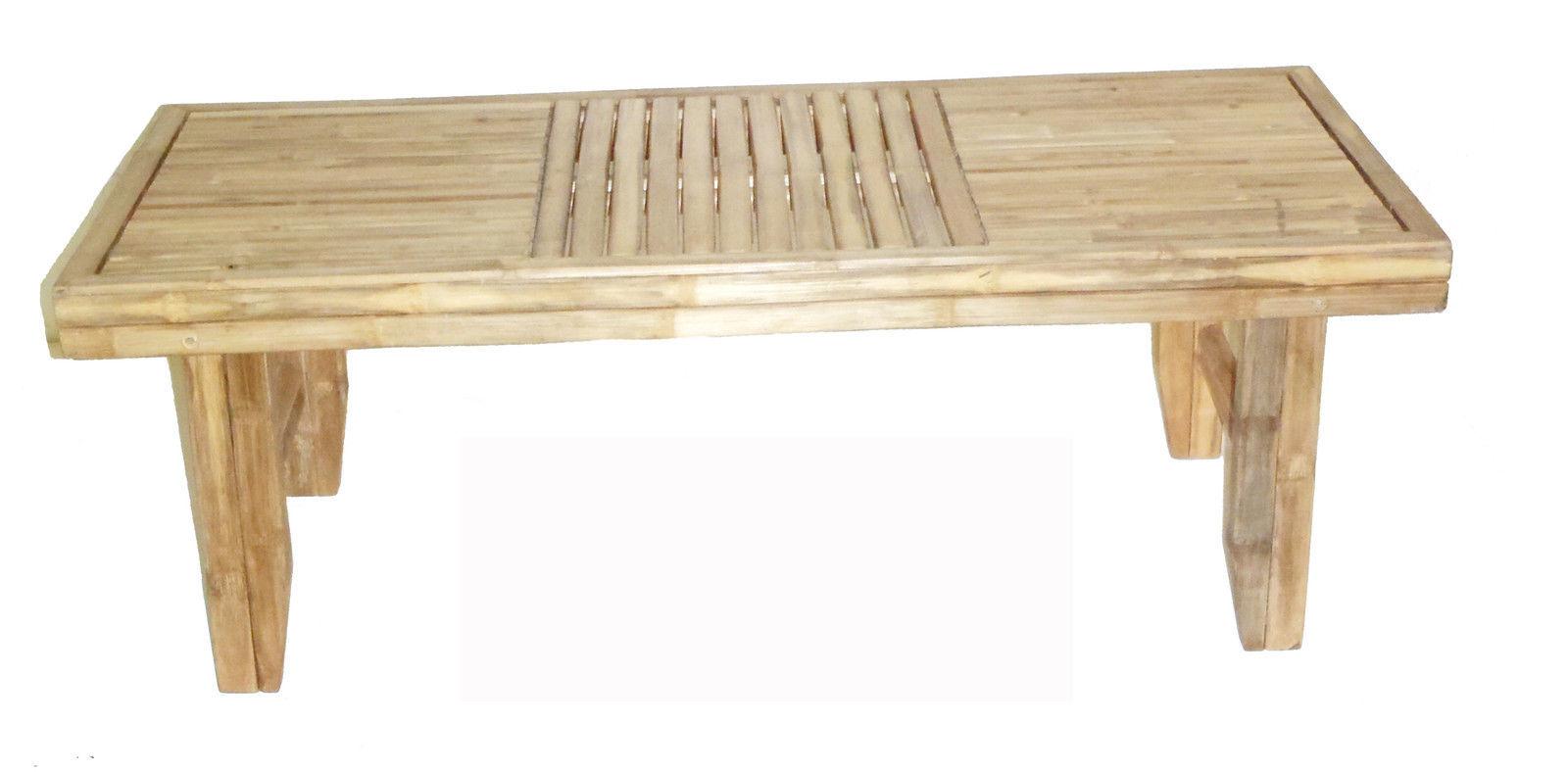 Deluxe Bamboo Tiki Folding Patio Deck Coffee Table  / Bench
