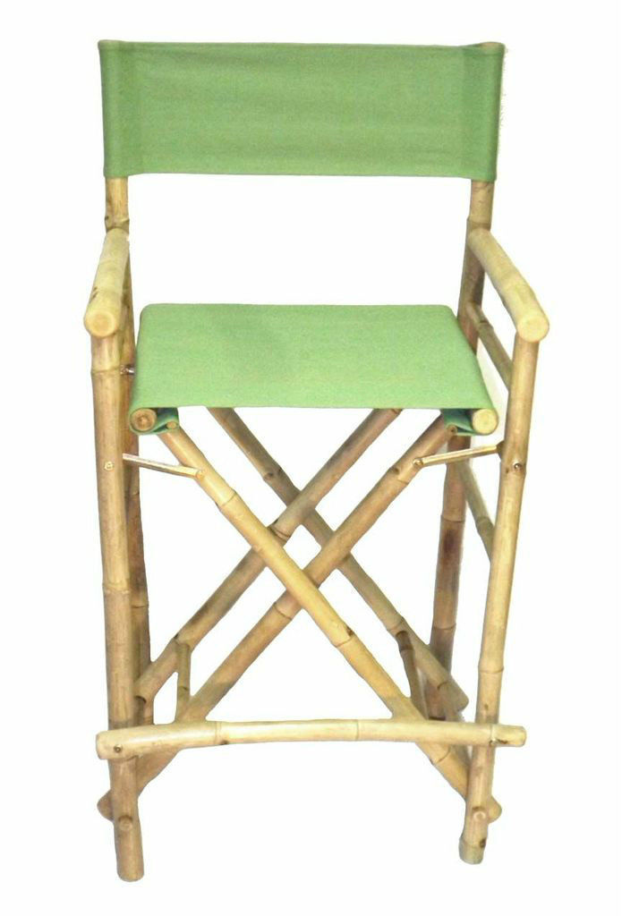 Bamboo Tiki Bar Stool Patio Deck Folding Directors Chair Set of 2,  8 Colors