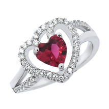 Heart Shaped Halo Ring With Ruby & White Sapphire In Sterling Silver 14k WG - £20.99 GBP