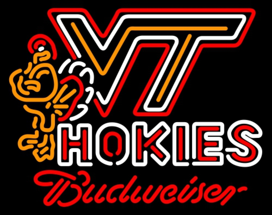 Budweiser virginia tech vt neon sign 20  x 20