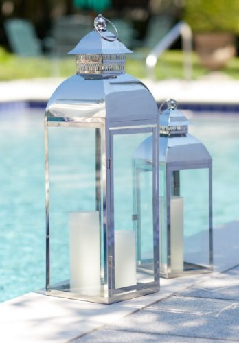 """Set of 2 Vintage-Style Stainless Steel & Glass Pillar Candle Holder Lanterns 26"""""""
