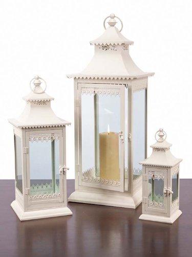 "Set of 3 Decorative Cream Cottage-Style Pillar Candle Holder Lanterns 27.5"""