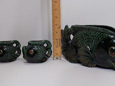 Mid Century Le Bow California Red Eye Green Fish Centerpiece w/ Candle Holders
