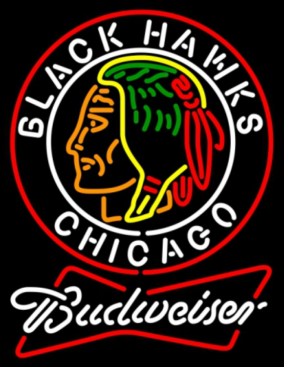 Budweiser bowtie commemorative 1938 chicago blackhawks neon sign 20  x 20