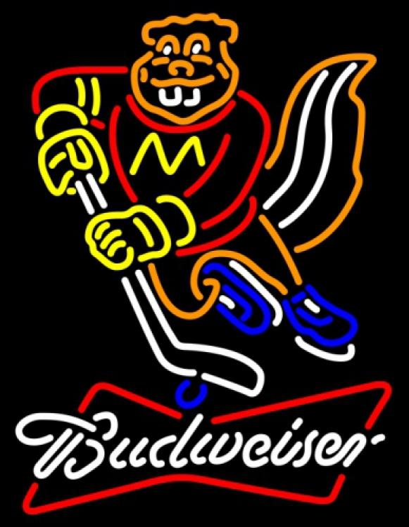 Budweiser bowtie minnesota golden gophers neon sign 18  x 18