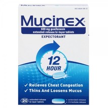 Mucinex Expectorant & cough 12 hours 20 TabletsExp Date 10/2016 - $7.49