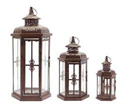 "Set of 3 Brown Iron Basilica Style Pillar Candle Holder Lanterns 21"" - $106.62"