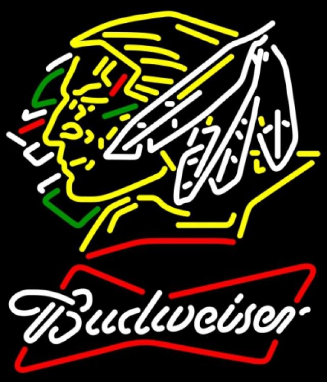 Budweiser bowtie north dakota fighting sioux neon sign 20  x 20