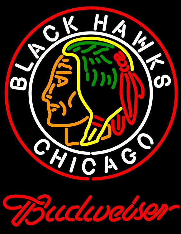 Budweiser commemorative 1938 chicago blackhawks neon sign 24  x 24