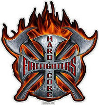 """Fireman  """"Hard Core"""" Tribute  3 M Window Decal...High Quality  Awesome - $10.99+"""